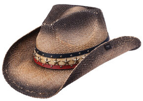 Peter Grimm Hogan Straw Cowboy Hat, Black, hi-res