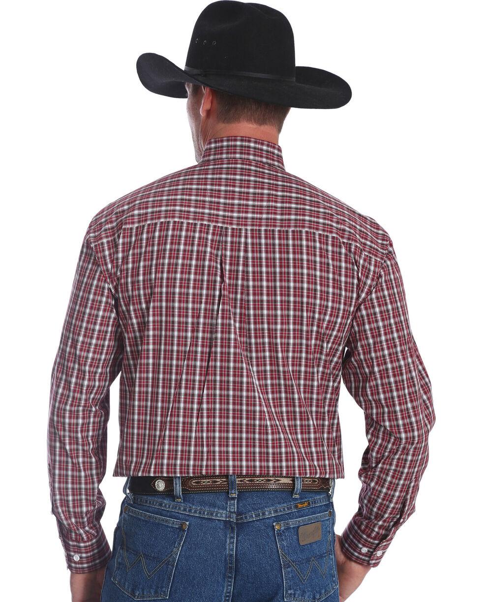 George Strait by Wrangler Men's Burgundy Button Down Plaid Long Sleeve Western Shirt , Burgundy, hi-res