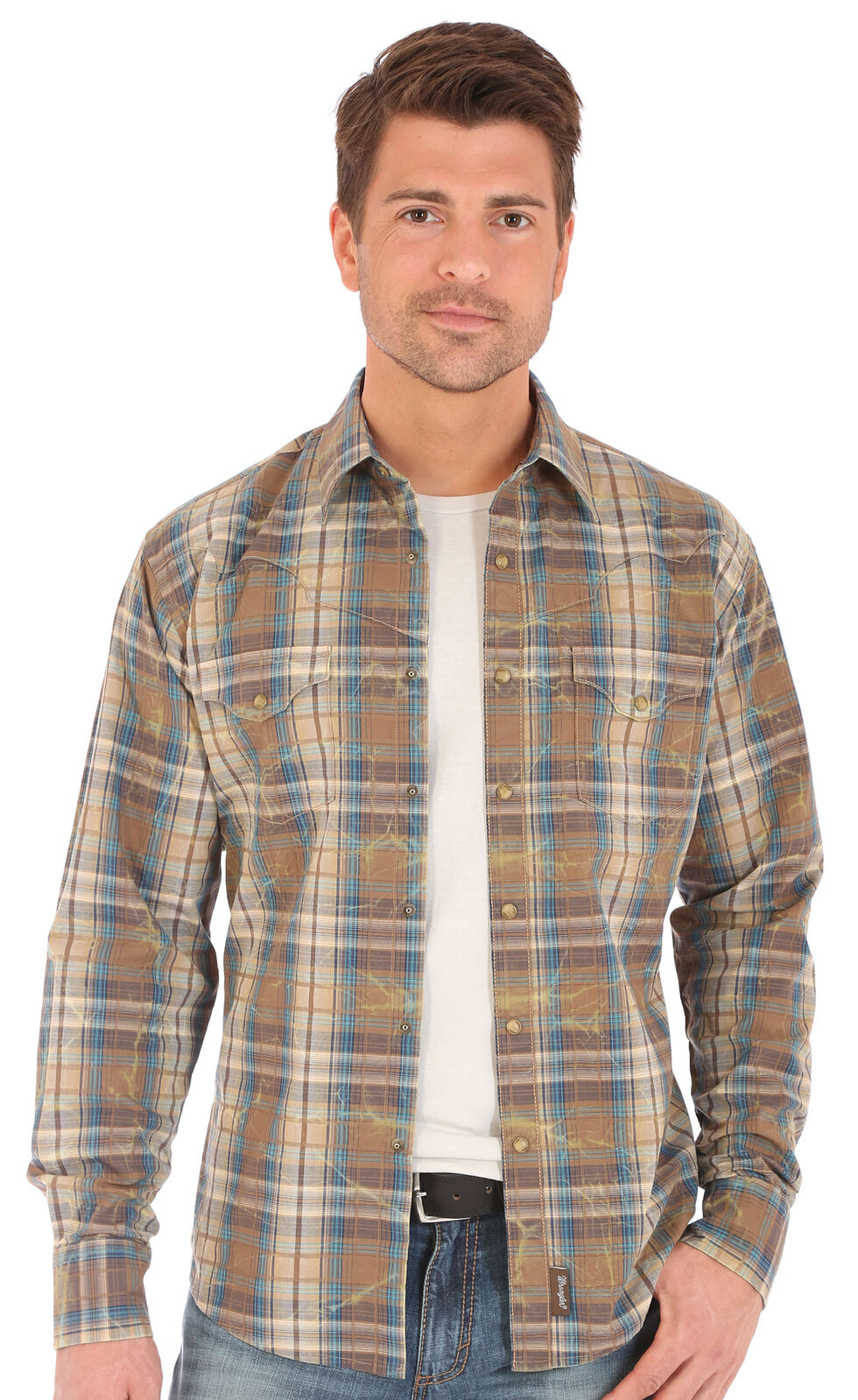 Wrangler Retro Men's Plaid 2 Pocket Long Sleeve Snap Shirt, Brown, hi-res