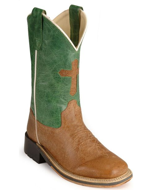 Old West Children's Cross Inlay Cowboy Boots - Square Toe, Tan, hi-res