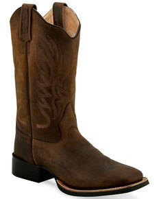 "Old West Women's Brown 11"" Western Boots - Wide Square Toe, Brown, hi-res"