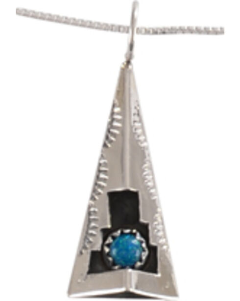 M & S Turquoise Felix Perry Teepee Blessing Sterling Silver Pendant, Silver, hi-res