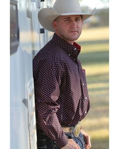 Cinch Men's Long Sleeve Navy Printed Plain Weave Button Down Shirt, Navy, hi-res