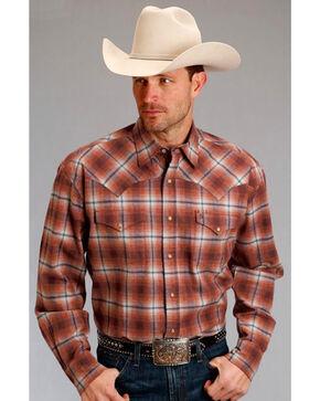 Stetson Men's Rust Copper Long Sleeve Plaid Shirt , Rust Copper, hi-res