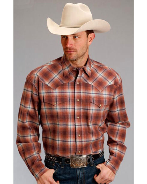 Stetson Men's Rust Copper Long Sleeve Plaid Shirt , Rust Copper, hi-res