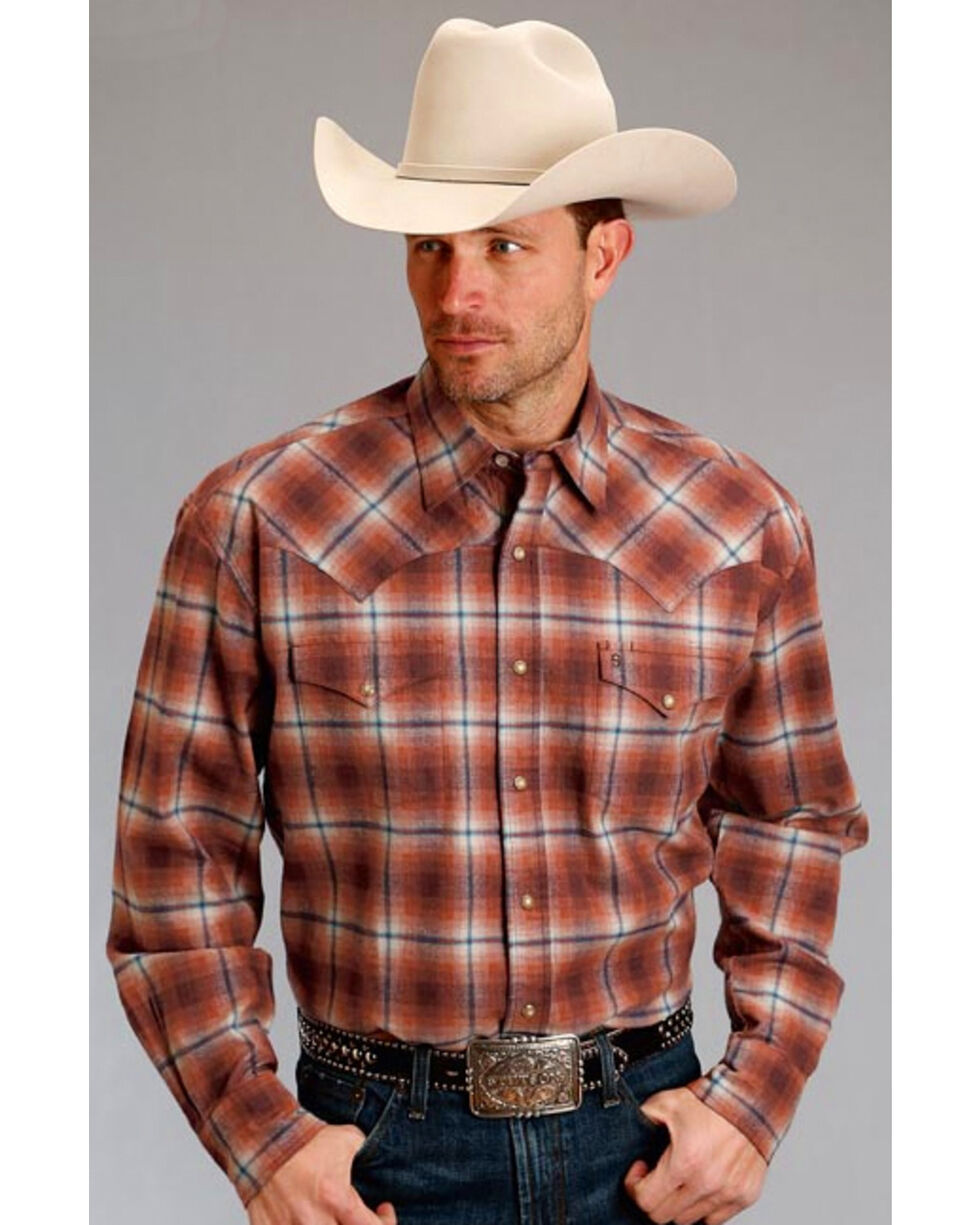 Stetson Men's Original Rugged Paprika Plaid Flannel Western Shirt , Rust Copper, hi-res