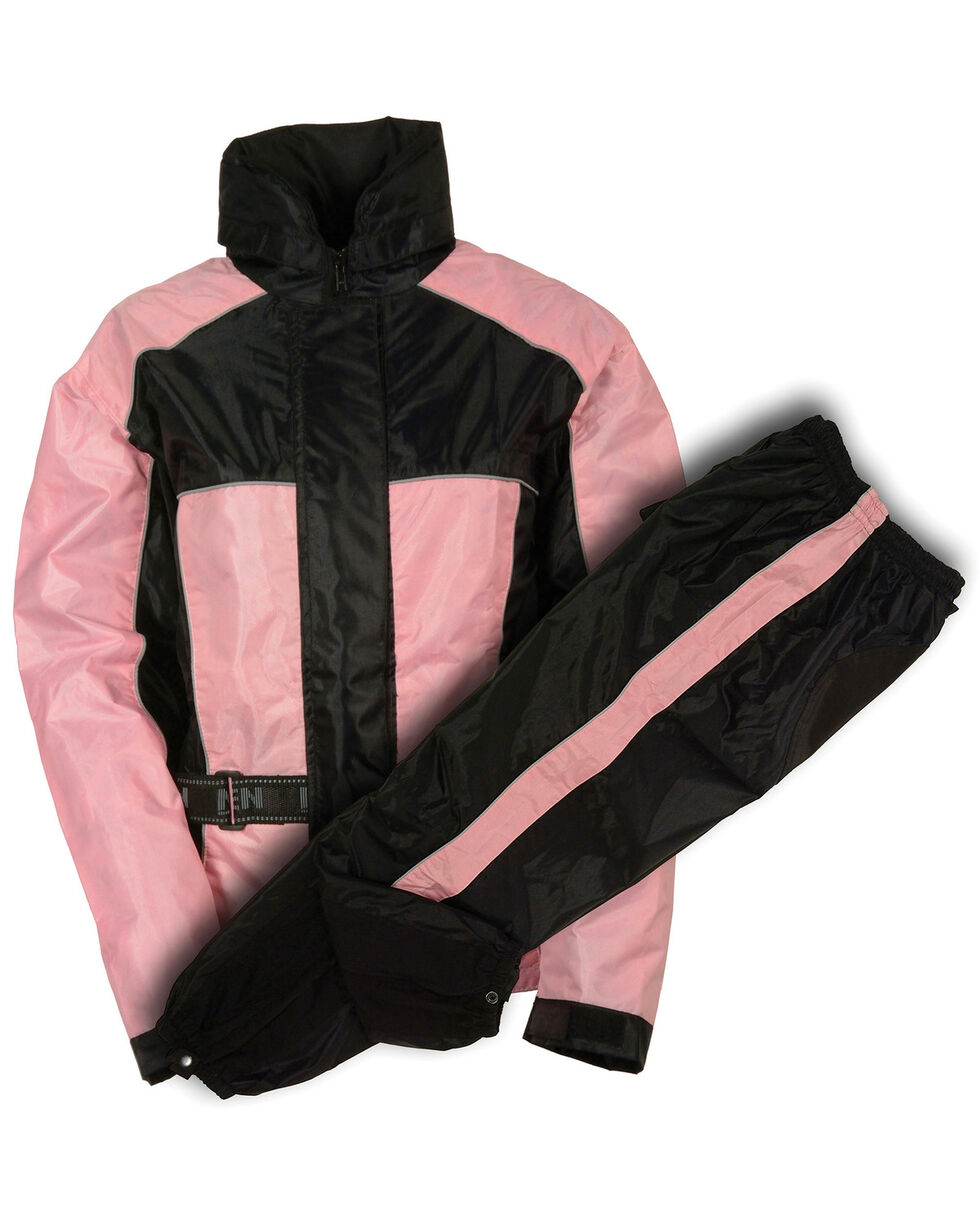 Milwaukee Leather Women's Waterproof Rain Suit with Reflective Piping - 4X, Pink/black, hi-res