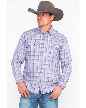 Moonshine Spirit Men's Rehearsal Plaid Long Sleeve Western Shirt, Purple, hi-res