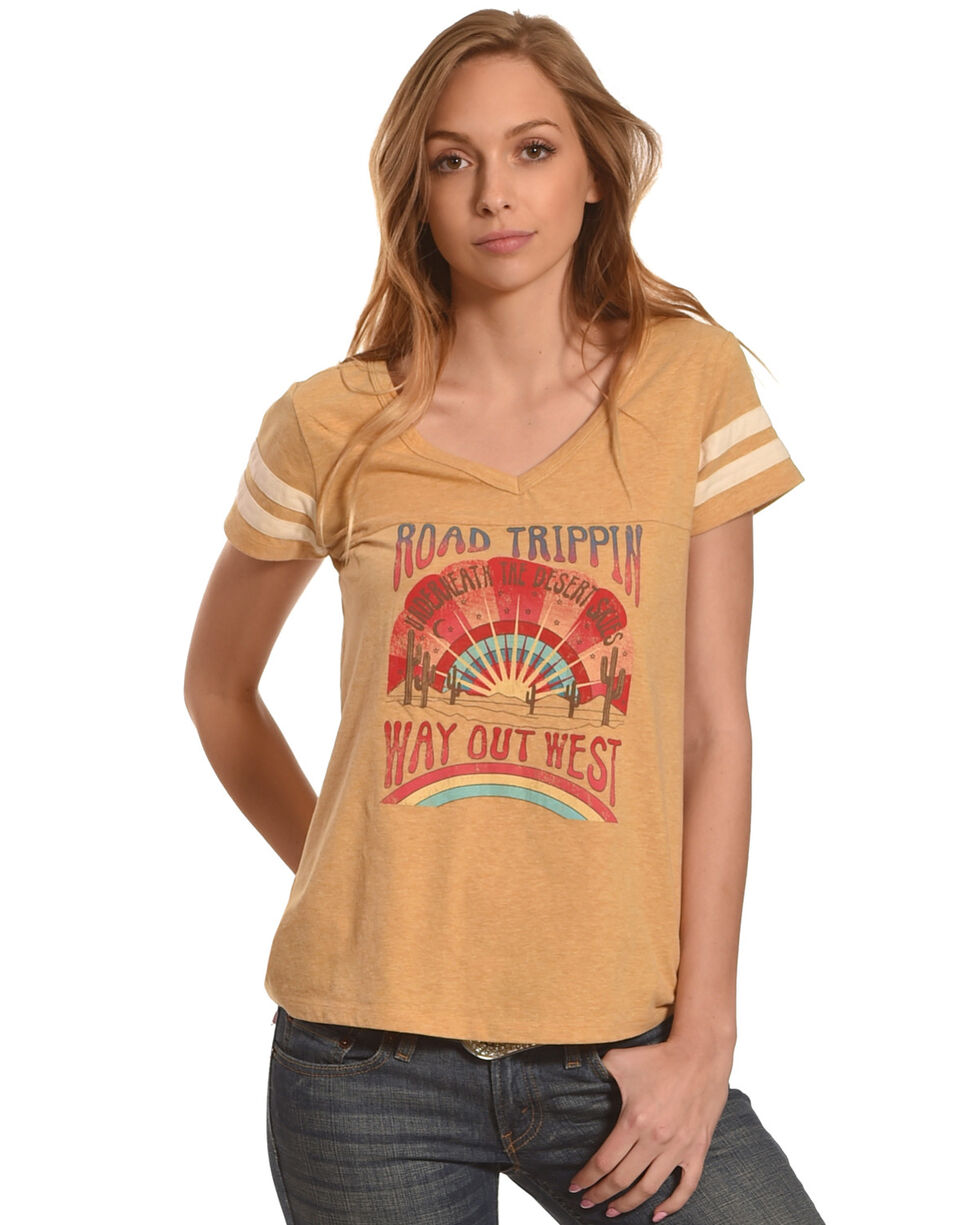 Shyanne Women's Road Trippin' Short Sleeve T-Shirt, Dark Yellow, hi-res