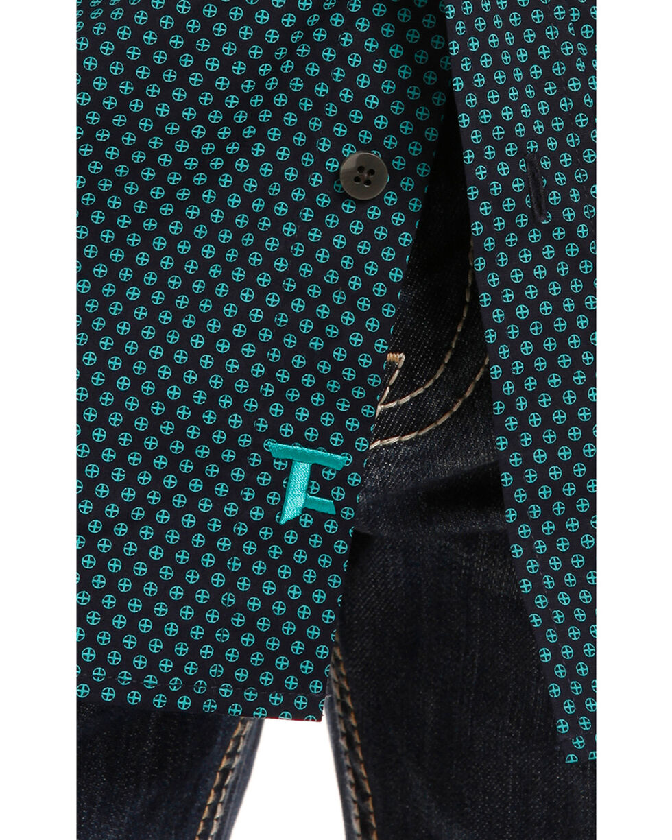 Tuf Cooper Performance by Panhandle Medallion Print Western Shirt , Turquoise, hi-res