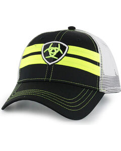 Ariat Men's Neon Logo Snap Back Ball Cap, Black, hi-res