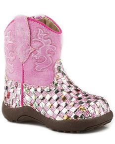 Roper Infant Girls' Glitter Western Braid Cowbabies Boots - Round Toe, Pink, hi-res