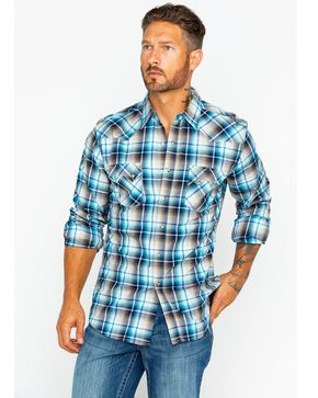 Wrangler Retro Men's Teal Large Plaid Long Sleeve Western Shirt - Tall, Teal, hi-res