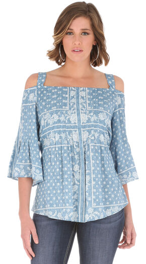 Wrangler Women's Blue Ruffle Sleeves Top , Blue, hi-res