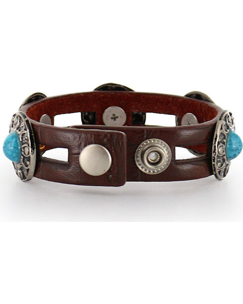 Shyanne Women's Leather Turquoise Concho Bracelet, Brown, hi-res