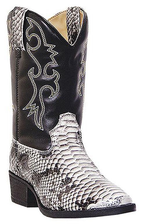 Laredo Boys' Rattlesnake Print Cowboy Boots - Round Toe, Snake Print, hi-res