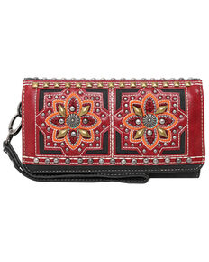 Montana West Women's Embroidered Collection Wallet, Black, hi-res