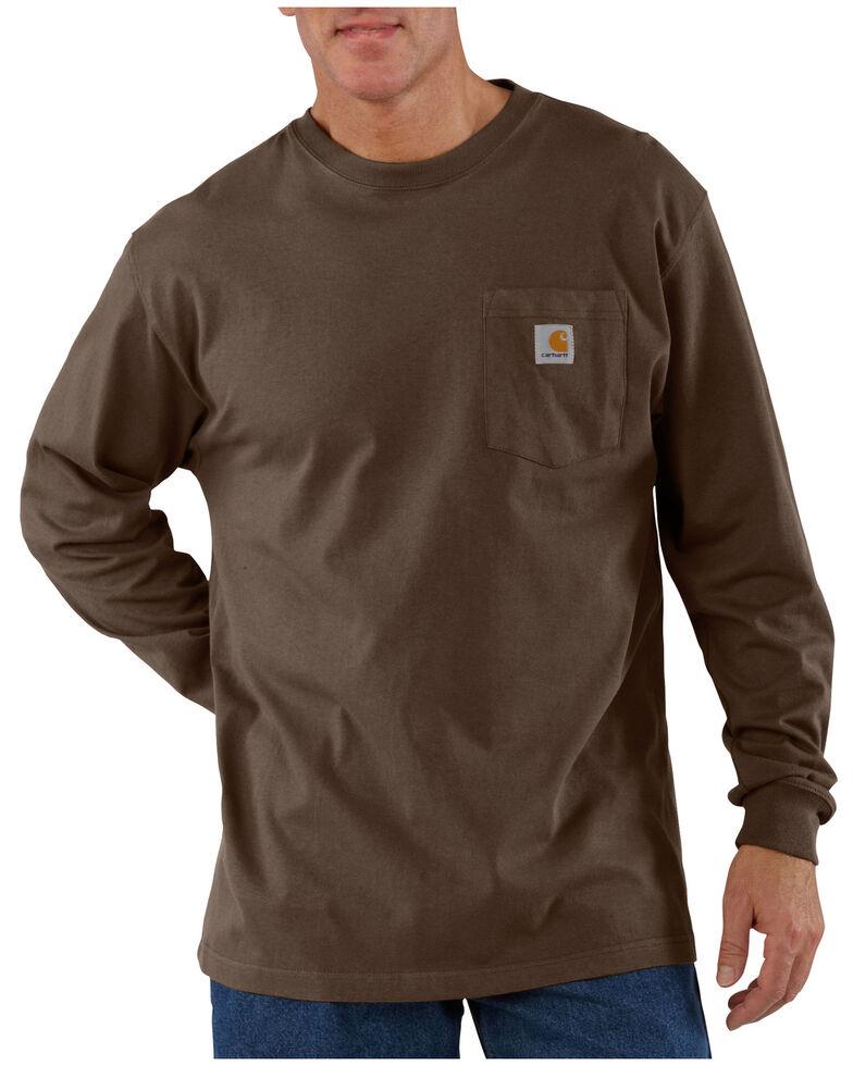 Carhartt Men's Pocket Long Sleeve Work Shirt - Tall, Dark Brown, hi-res