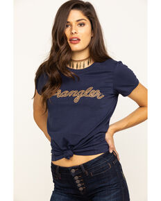 Wrangler Women's Navy Wrangler Logo Graphic Tee , Navy, hi-res