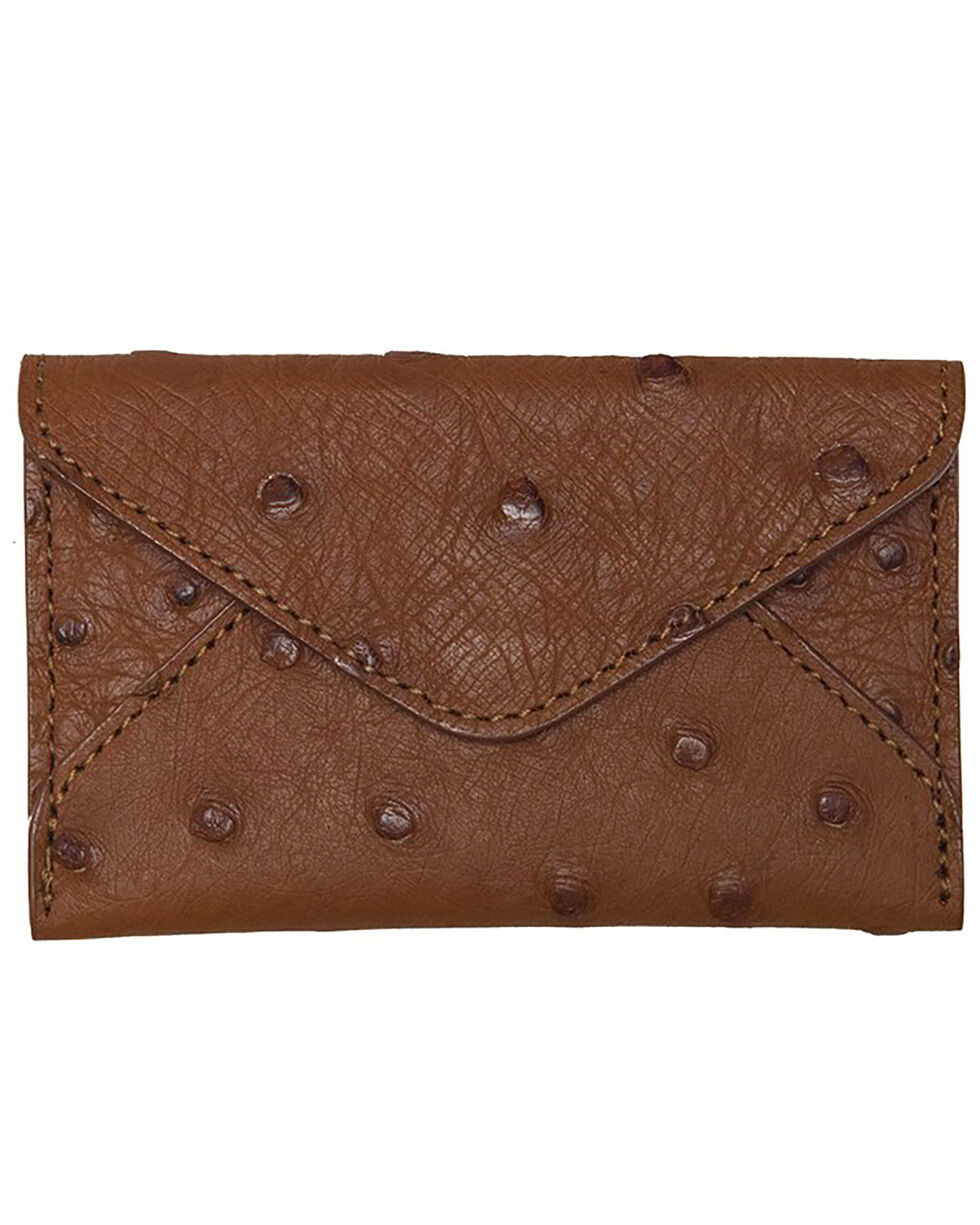 Lucchese Men's Cognac Ostrich Business Card Case, Cognac, hi-res