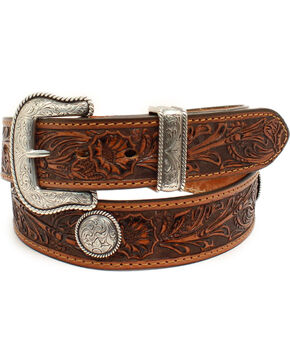 Nocona Men's Pendleton Floral Embossed Concho Leather Belt, Tan, hi-res