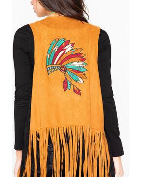 Wrangler Women's Studded Fringe Chief Headdress Vest, Tan, hi-res