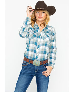 Outback Trading Women's Plaid Lanee Performance Whipstitch Long Sleeve Western Shirt , Teal, hi-res