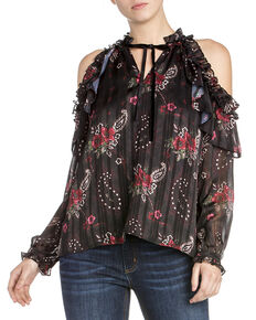 Miss Me Women's Cold Shoulder Floral Print Ruffle Top, Black, hi-res