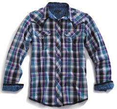 Tin Haul Men's Garage Plaid Snap Western Shirt, Blue Multi Plaid, hi-res