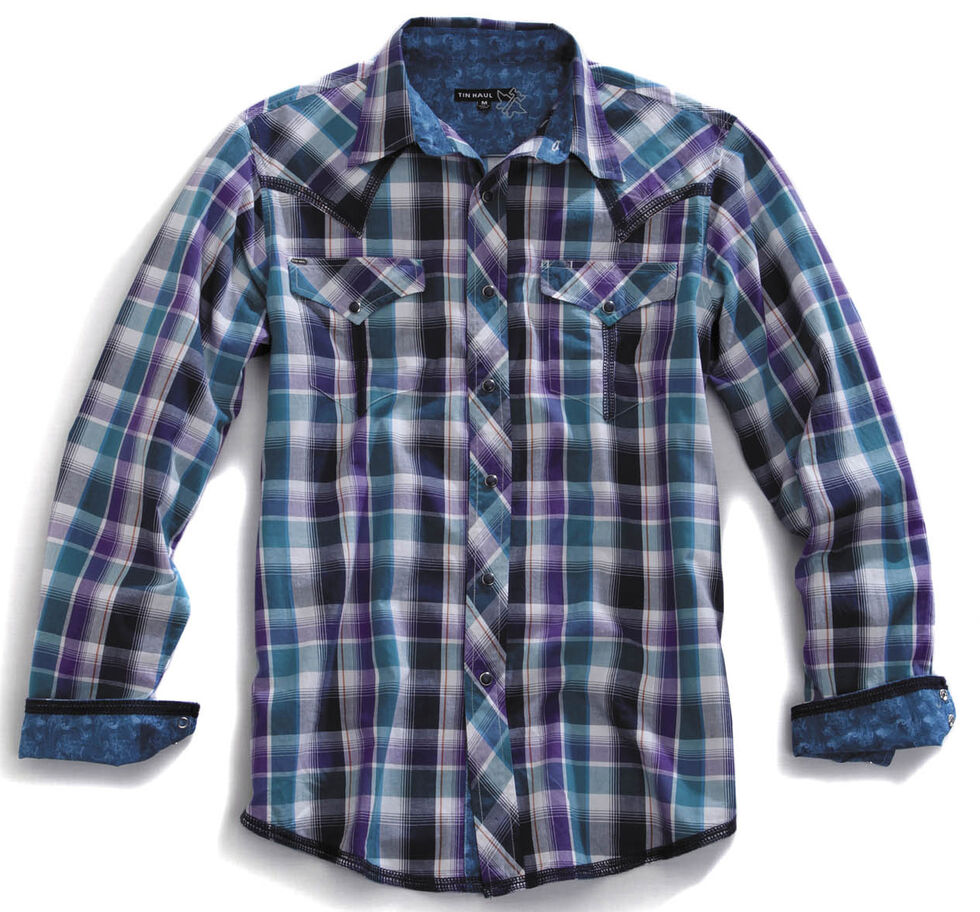 Tin Haul Men's Garage Plaid Snap Western Shirt, Blue Multi Plaid, hi-res