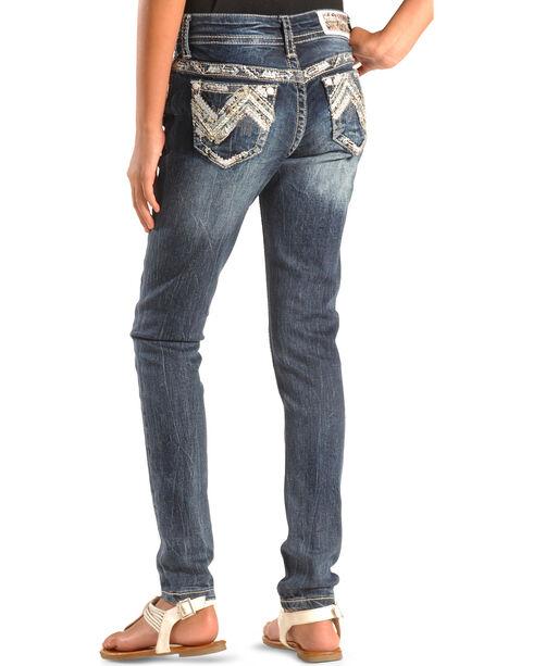 Grace in LA Girls' Zig Zag Stitch Skinny Jeans , Denim, hi-res