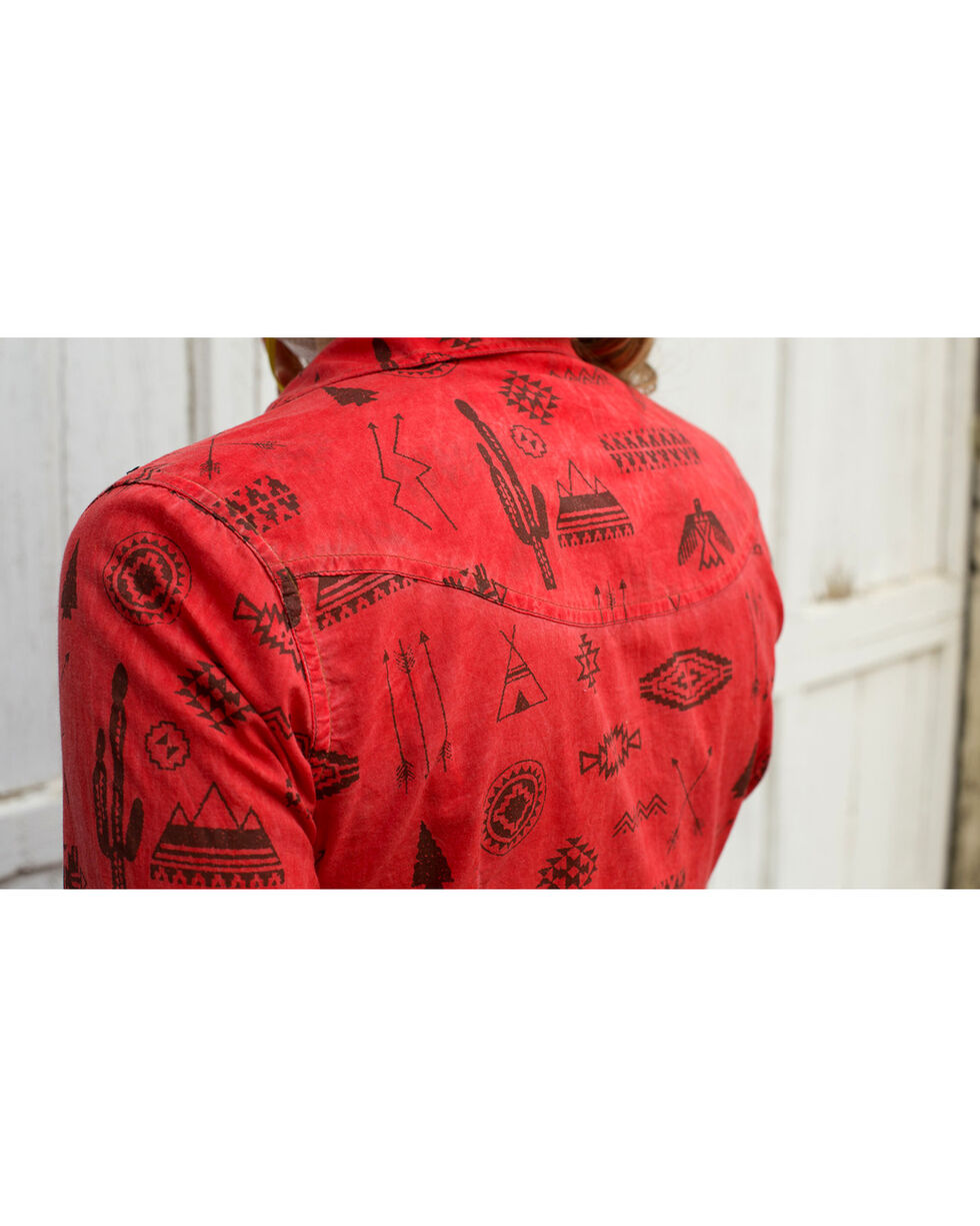 Ryan Michael Women's Tucson Motif Print Shirt , Red, hi-res
