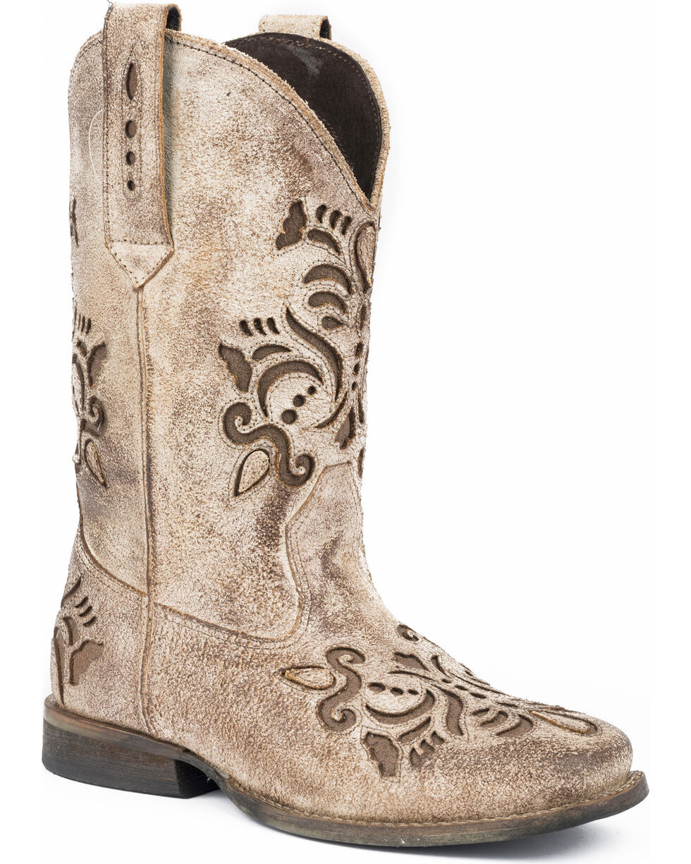 Roper Girls' Belle Floral Filigree Cutout Cowgirl Boots - Round Toe, Tan, hi-res