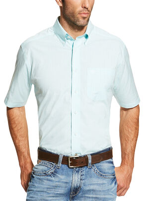 Ariat Men's Light Blue Finny Short Sleeve Shirt - Big and Tall, Light Blue, hi-res