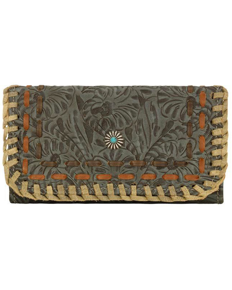 American West Women's Melissa Collection Tooled Tri-Fold Wallet, Turquoise, hi-res