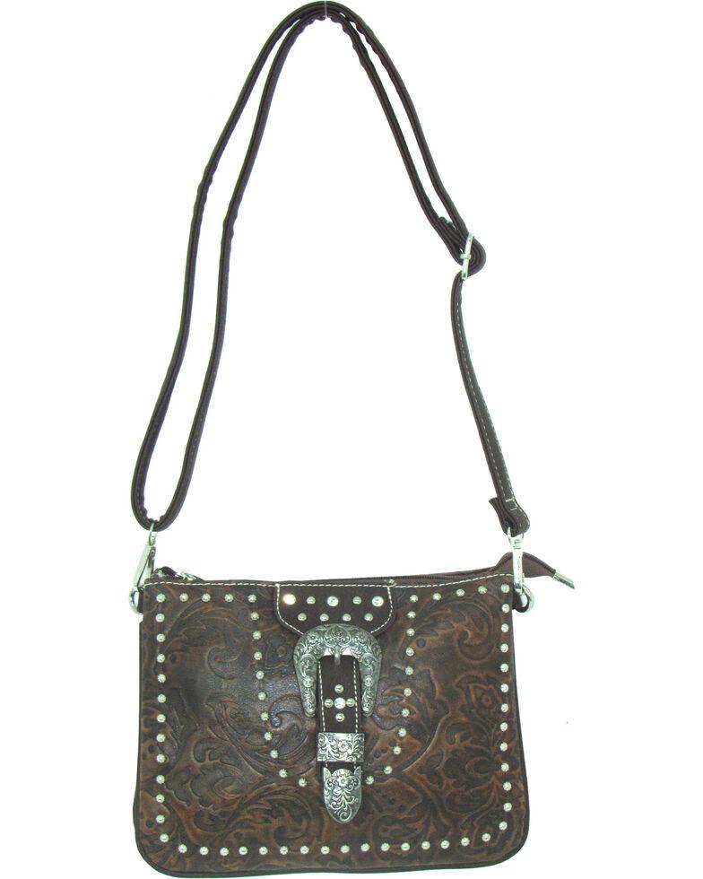 Savana Women's Buckle Tooled Crossbody Bag, Tan, hi-res