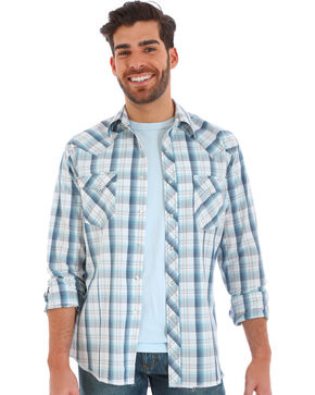 Wrangler Men's White Plaid Fashion Snap Long Sleeve Shirt, White, hi-res