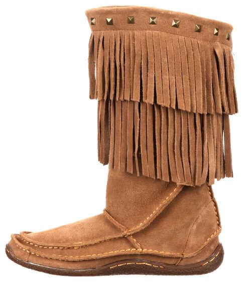 Durango Women's City Santa Fe Fringe Moccasin Boots, Sand, hi-res