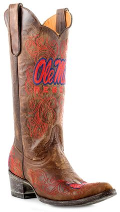 Gameday University of Mississippi Cowgirl Boots - Pointed Toe, Brass, hi-res