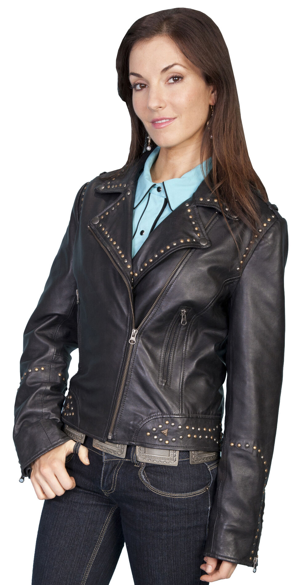 Scully Lambskin Motorcycle Jacket, Black, hi-res