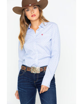 Ariat Women's Kirby Stretch Pinstripe Dobby Button Long Sleeve Shirt , Blue, hi-res