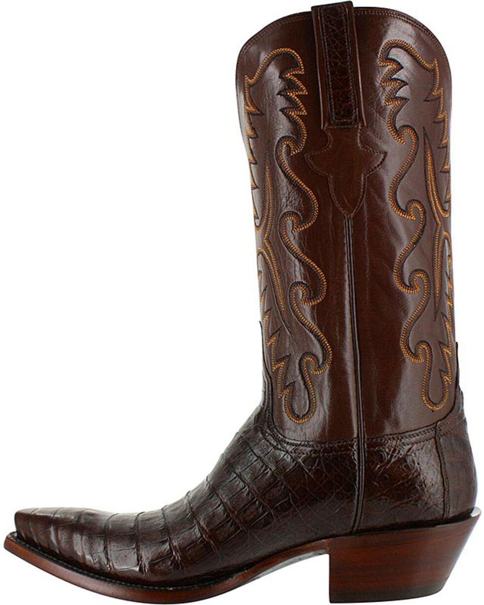 Lucchese Men's Handmade Exotic Caiman Western Boots - Snip Toe, Black, hi-res