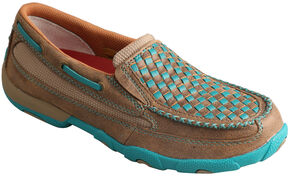 Twisted X Women's Bomber Brown & Turquoise Check Driving Mocs, Brown, hi-res
