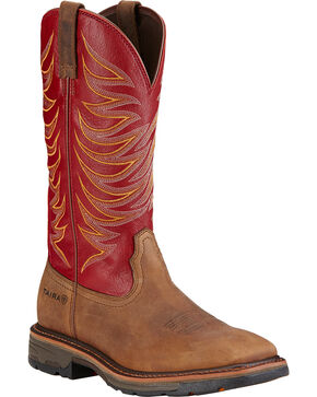 Ariat Workhog Wide Square Toe Tall II Boots - Soft Square Toe , Brown, hi-res