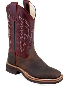 Old West Youth Boys' Two Tone Leather Cowboy Boots - Square Toe, Brown, hi-res