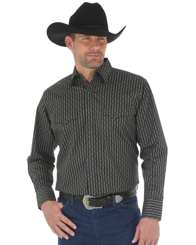 Wrangler Men's Black Silver Edition Striped Long Sleeve Western Shirt , Black, hi-res