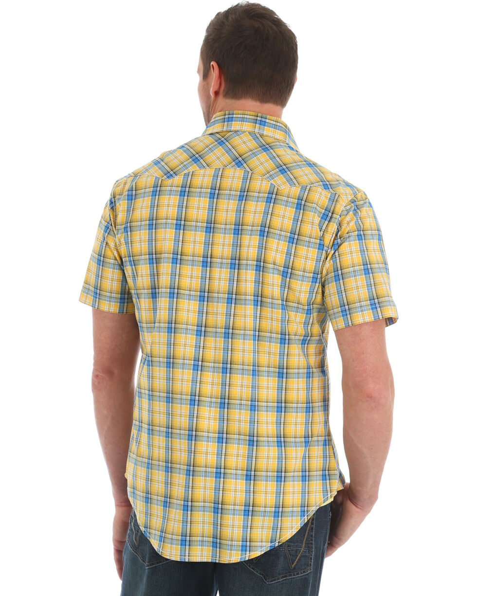 Wrangler Retro Men's Yellow Plaid Sawtooth Pocket Short Sleeve Shirt , Yellow, hi-res
