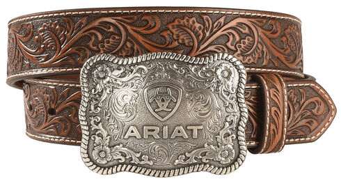 "Ariat 1 1/2"" Emobssed Plate Belt, Black/tan, hi-res"