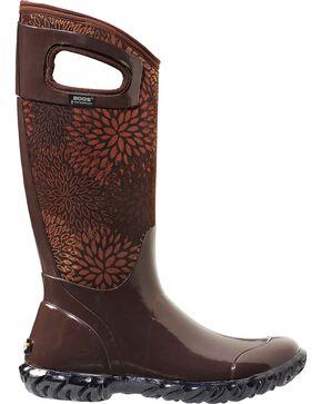 Bogs Women's North Hampton Brown Floral Waterproof Boots, Chocolate, hi-res