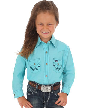 Wrangler Girls' Turquoise Classic Embroidered Shirt , Turquoise, hi-res